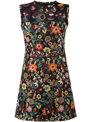 Red Valentino Floral Print Dress Black