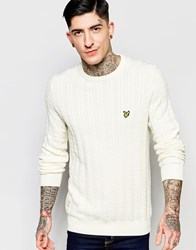 Lyle And Scott Jumper With Cable Knit In Cream Ivory