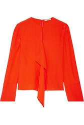 Emilio Pucci Ruffled Silk Crepe De Chine Blouse Tomato Red