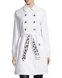 Laundry By Shelli Segal Belted Double Breasted Trenchcoat White Leopard