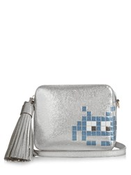 Anya Hindmarch Space Invaders Leather Cross Body Bag Silver