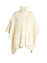 Fendi Roll Neck Wool Poncho Ivory