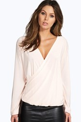 Rebecca Long Sleeve Wrap Front Slinky Top
