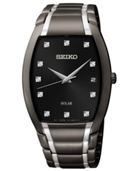 Seiko Men's Solar Diamond Accent Black Ion Finished Stainless Steel Bracelet Watch 35Mm Sne335
