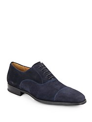 Magnanni For Saks Fifth Avenue Suede Cap Toe Oxfords Navy