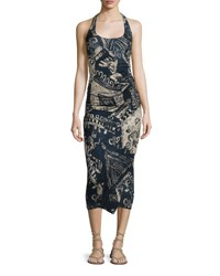 Urban Zen Sleeveless Tribal Print Stretch Knit Wrap Dress Parchment