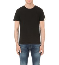 Replay Scoop Neck Cotton Jersey T Shirt Black
