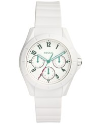 Fossil Women's Poptastic White Silicone Strap Watch 38Mm Es4064
