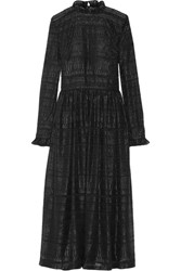 Markus Lupfer Danielle Ruffle Trimmed Metallic Fil Coupe Midi Dress Black