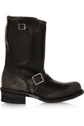 Frye Engineer Distressed Leather Boots Black