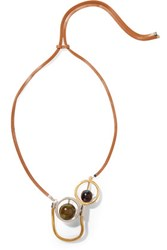 Marni Gold And Silver Tone Leather And Resin Necklace Brown