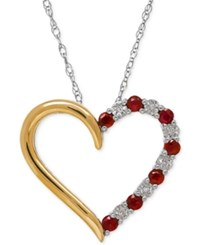 Macy's Ruby 1 3 Ct. T.W. And Diamond Accent Heart Pendant Necklace In Sterling Silver And 14K Gold