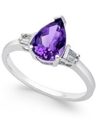 Macy's Amethyst 1 1 3 Ct. T.W. And Diamond Accent Ring In 14K White Gold
