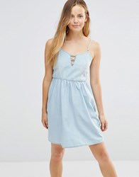 Only Denim Skater Dress With Tie Up Front Light Blue Denim