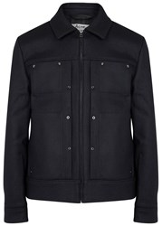 Acne Studios Metal Midnight Blue Wool Blend Jacket Navy