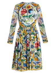 Dolce And Gabbana Majolica Print Long Sleeved Silk Chiffon Dress White Multi