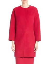 Elie Tahari Sammy Wool Blend Collarless Coat Winter Blossom