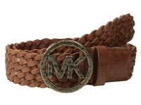 Michael Michael Kors 40Mm Braided Leather Panel On Hammered Mk Plaque Buckle Belt Luggage Women's Belts Brown