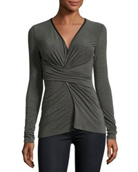 Bailey 44 Faux Wrap Front Jersey Top Charcoal