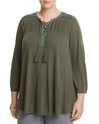 Lucky Brand Plus Lace Up Front Peasant Blouse Thyme