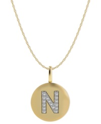 Macy's 14K Gold Necklace Diamond Accent Letter N Disk Pendant