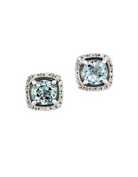 Effy Gemma Aquamarine Diamond And 14K White Gold Stud Earrings Aqua White Gold