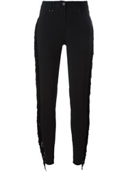Plein Sud Jeans Plein Sud Lateral Fringed Detail Slim Fit Trousers Black