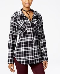 Polly And Esther Juniors' Plaid Flannel Hoodie Black White