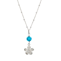 Martick Sterling Silver Forget Me Not Glass Pendant