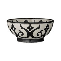 Day Birger Et Mikkelsen Indian Pattern Handpainted Pottery Bowl White 20X7cm