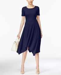 Eci Striped A Line Handkerchief Hem Dress Evening Blue