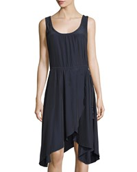 Calypso St. Barth Eliason Wrap Skirt Sleeveless Dress Navy