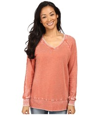 Allen Allen Long Sleeve Raglan Vee Tunic Burnt Orange Women's Sweater