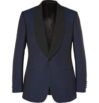 Kingsman Navy Slim Fit Wool And Mohair Blend Shawl Collar Tuxedo Jacket Blue