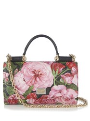 Dolce And Gabbana Sicily Von Peony Print Leather Cross Body Bag Pink Multi