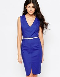 Paper Dolls Pencil Dress With Bow Belt Cobalt Blue