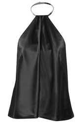Kaufman Franco Leather Trimmed Silk Satin Halterneck Top Black