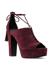 Michael Kors Sylvan Suede Open Toe Lace Up Platform Sandals Burgundy
