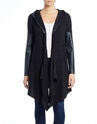 Blank Nyc Leatherette Trimmed Cardigan Vegan Diet