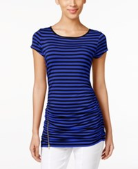 Cable And Gauge Striped Ruched Knit Top Black Angelfish