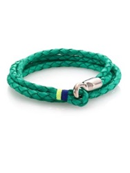 Miansai Trice Sterling Silver And Braided Leather Triple Wrap Bracelet Kelly Green