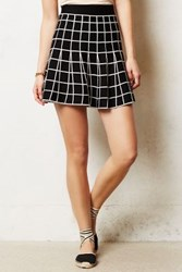 Anthropologie Grid Skater Skirt Black And White