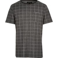 River Island Mens Dark Grey Check T Shirt