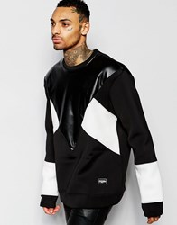 Jaded London Monochrome Panelled Neoprene Sweat Black