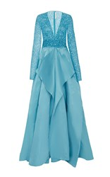 Naeem Khan Beaded V Neck Panel Gown Light Blue