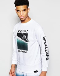Pink Dolphin Long Sleeve T Shirt With Wavelordz Print White