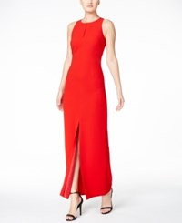 Calvin Klein Keyhole Crepe Gown Red