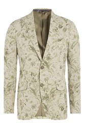 Etro Floral Print Cotton Blazer Green