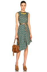 Marni Asymmetrical Printed Dress In Green Floral
