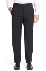 Zanella Men's 'Devon' Flat Front Check Wool Trousers Dark Grey